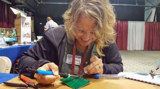 Karen KC1KBW a BGHS Teacher Building a Kit