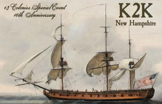 13 Colonies Special Event QSL Card for K2K, New Hampshire