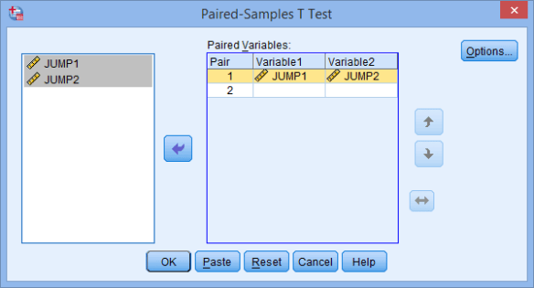 The Paired Sample T Test Dialogue Box