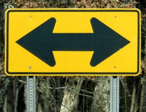 Sign that indicates you need to choose a direction.
