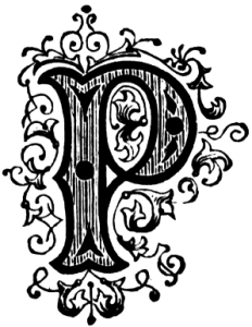 Image of a old-fashioned, fancy letter P.