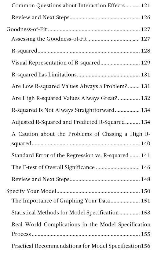 Table of contents page 4 for Regression Analysis: An Intuitive Guide