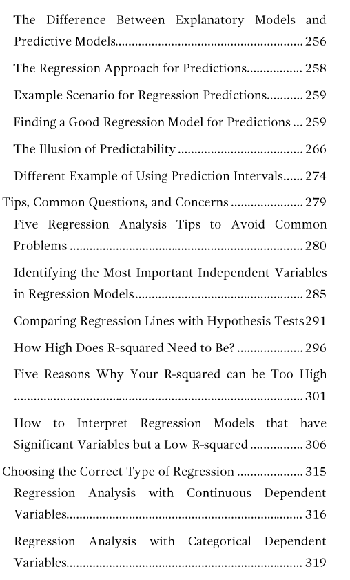 Table of contents for Regression Analysis: An Intuitive Guide