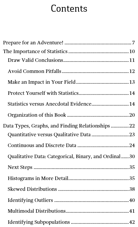 Image of page one of the table of contents for Introduction to Statistics: An Intuitive Guide.