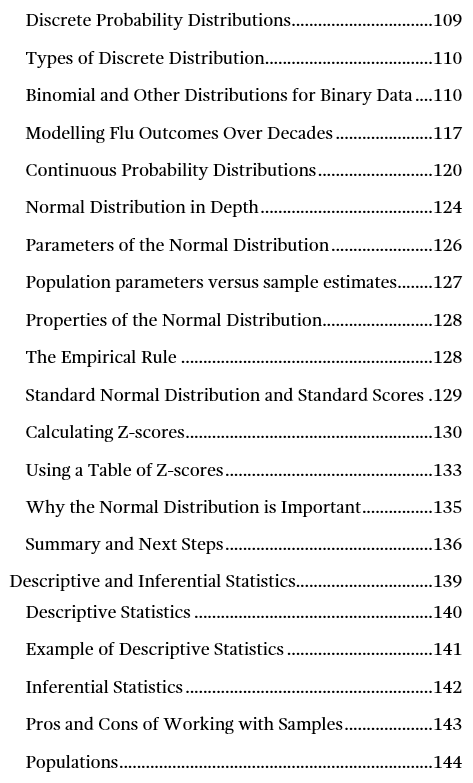 Image of page three for the table of contents for Introduction to Statistics: An Intuitive Guide.