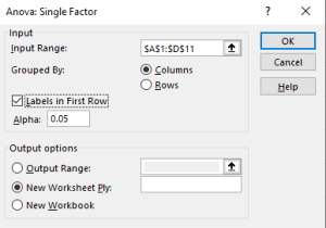 Image of Excel's one-way ANOVA popup for this example.