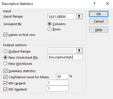Excel's dialog box for descriptive statistics.