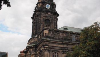 Blick auf die Kreuzkirche in Dresden, September 2013