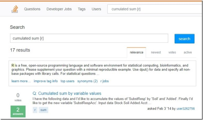 tag R stack overflow