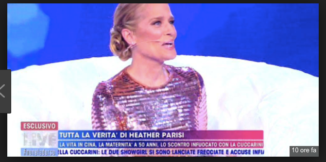 Heather Parisi va a Domenica Live