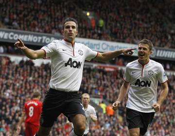 Robin van Persie of Manchester United celebrates scoring his goal to make the score 1-2