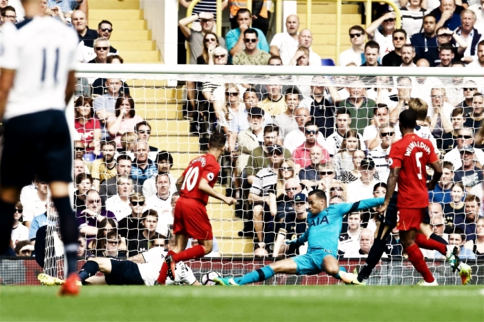 LONDON, ENGLAND - Saturday, August 27, 2016: Liverpool's Philippe Coutinho Correia sees his shot saved by Tottenham Hotspur's goalkeeper Michel Vorm during the FA Premier League match at White Hart Lane. (Pic by David Rawcliffe/Propaganda)
