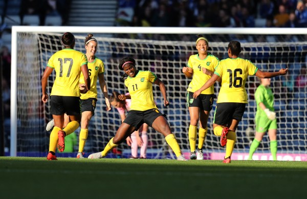 Jamaica women's national team celebrate a goal against Scotland