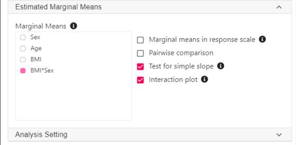 estimated marginal mean