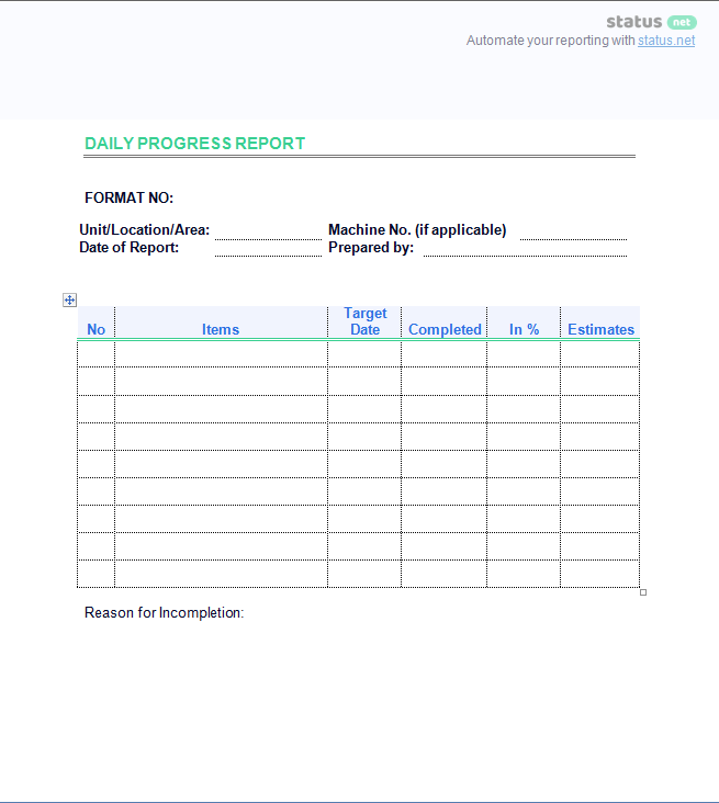 2 Smart Daily Progress Report Templates Free Download