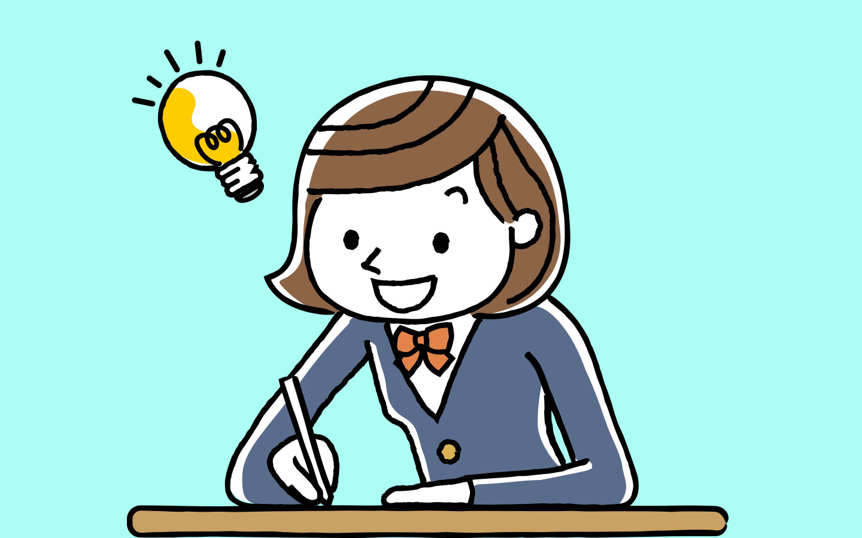 Illustration of female student studying