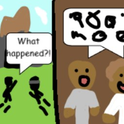 A comic strip explaining the story of Pentecost