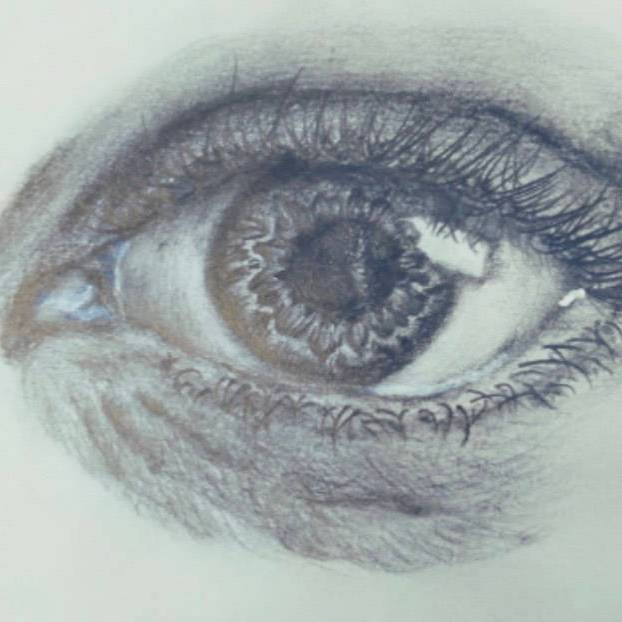 A close-up of a human eye drawn by S3 pupil
