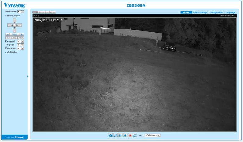 Domovská stránka kamery