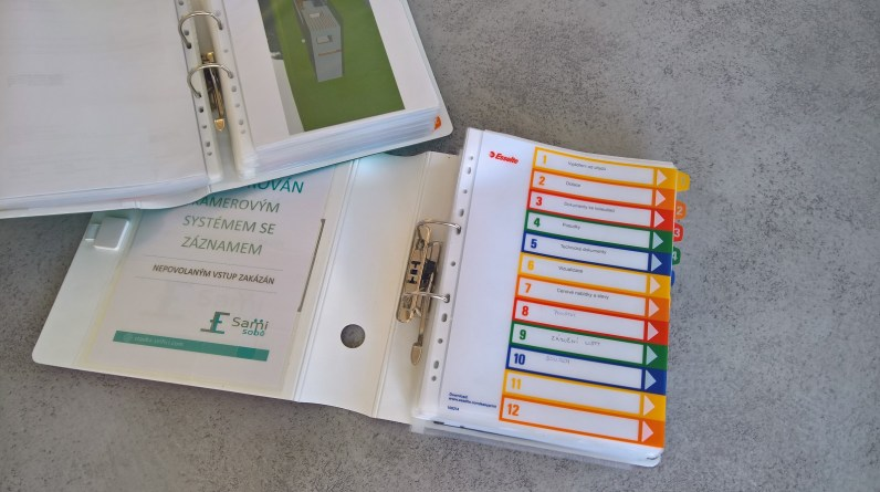 Šanony s rejstříky pro ukládání dokumentů