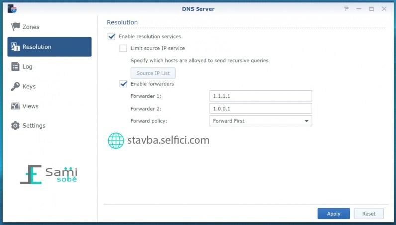 Nastavení přeposílání DNS na Synology RT2600ac
