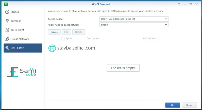 Filtrování MAC adres na Synology RT2600ac