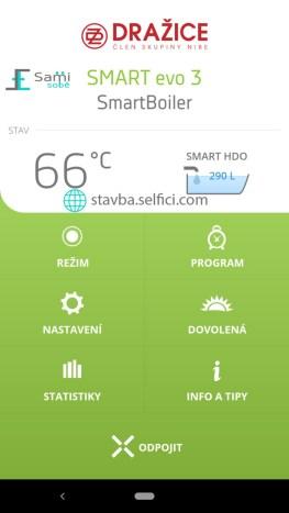 Domovská stránka aplikace SmartBoiler