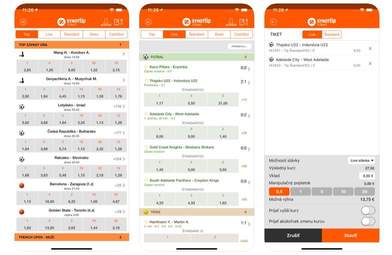 Mobilná aplikácia SYNOTtip screenshoty