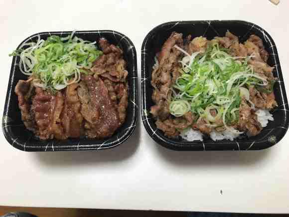 韓丼のカルビ丼 普通盛りと大盛り