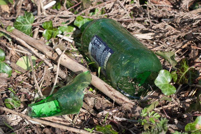 Broken bottle in grass