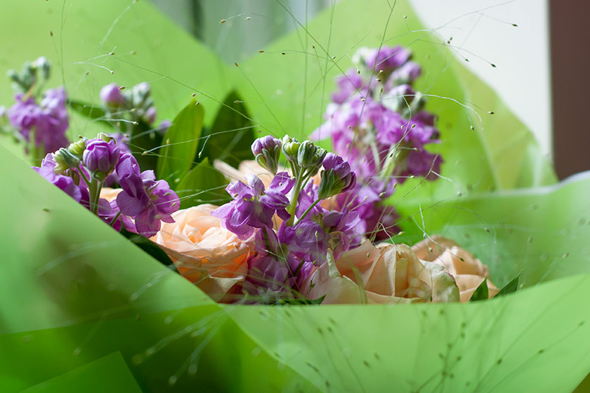 Flowers in green wrapping