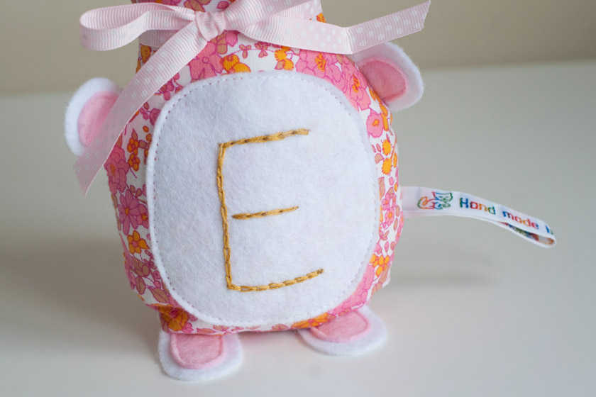 Embroidered letter E