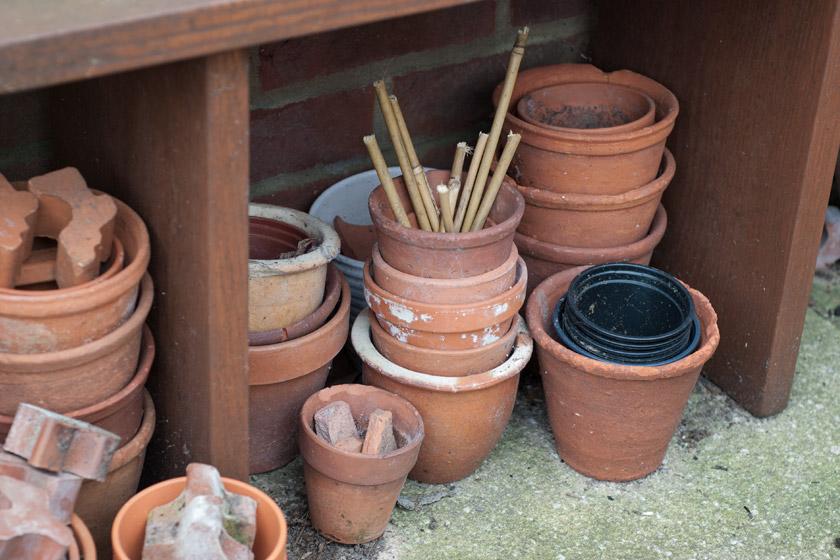 Terracotta pots under bench