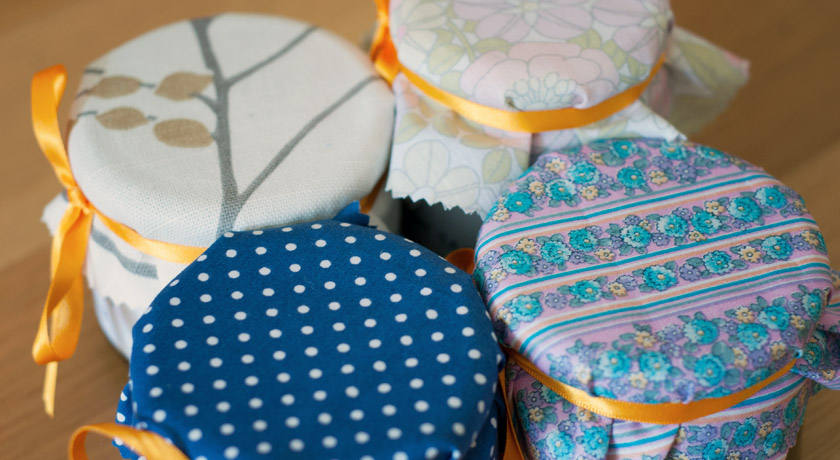 Fabric jam jar covers