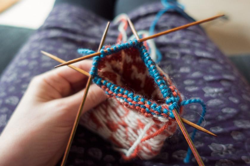 Knitting on needles