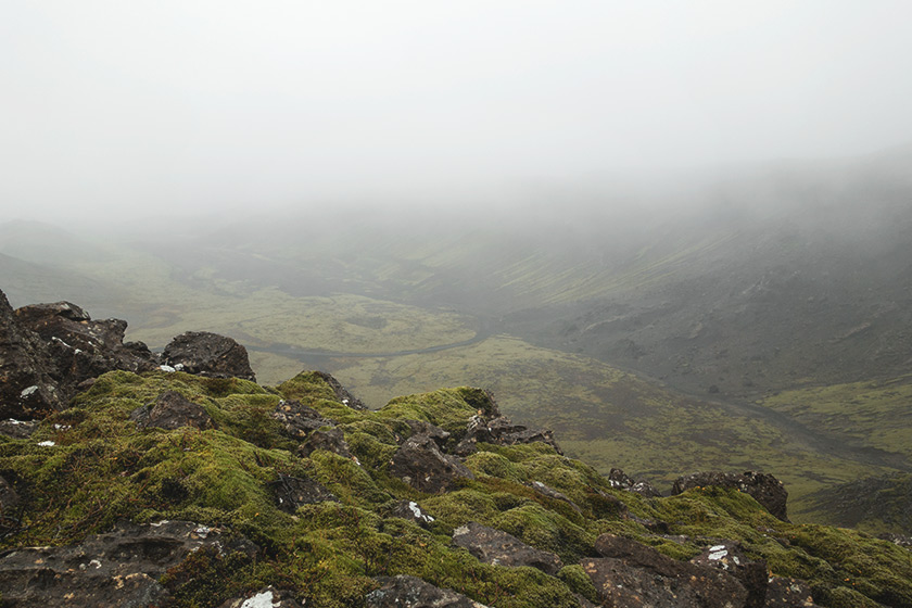 View over vast lava field