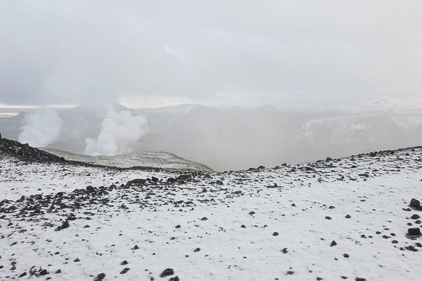 Snowy mountain trail