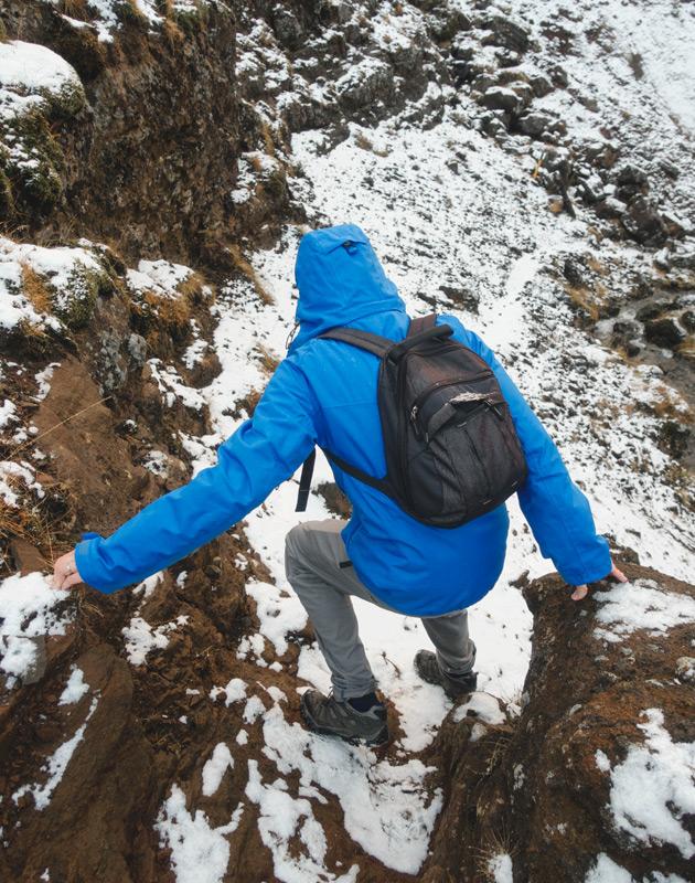 Figure on rock trail