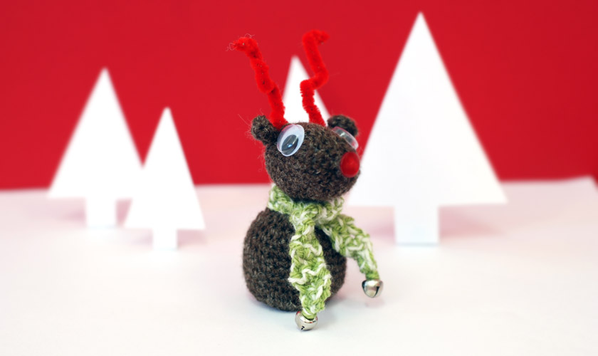 Crochet reindeer and scarf will bells