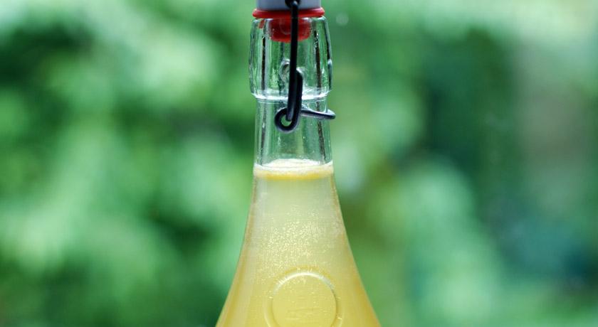 Elderflower cordial in a swing top bottle
