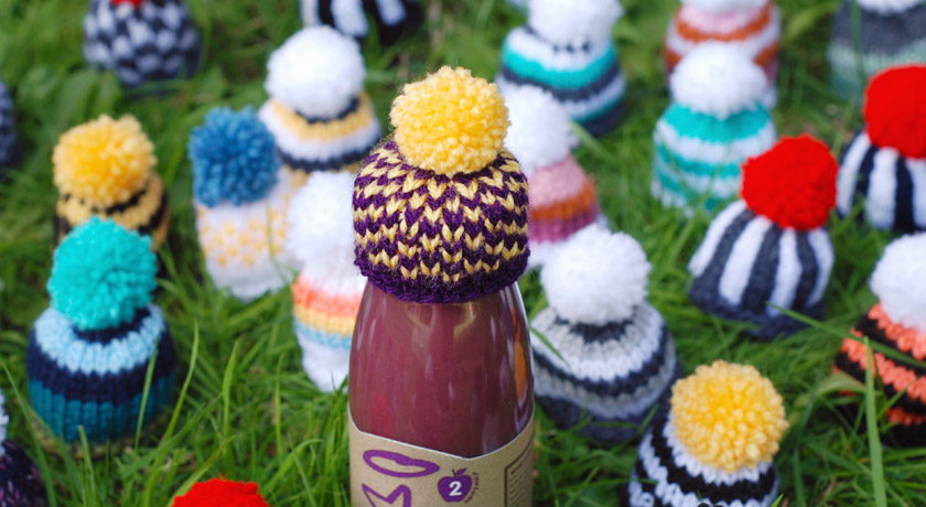 Purple and yellow fair Isle hat for Innocent's Big Knit 2013