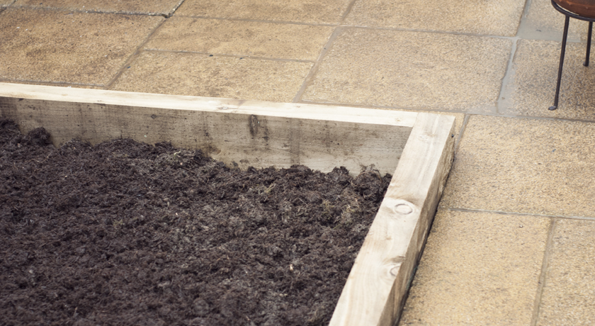 Raised vegetable bed made from softwood sleepers