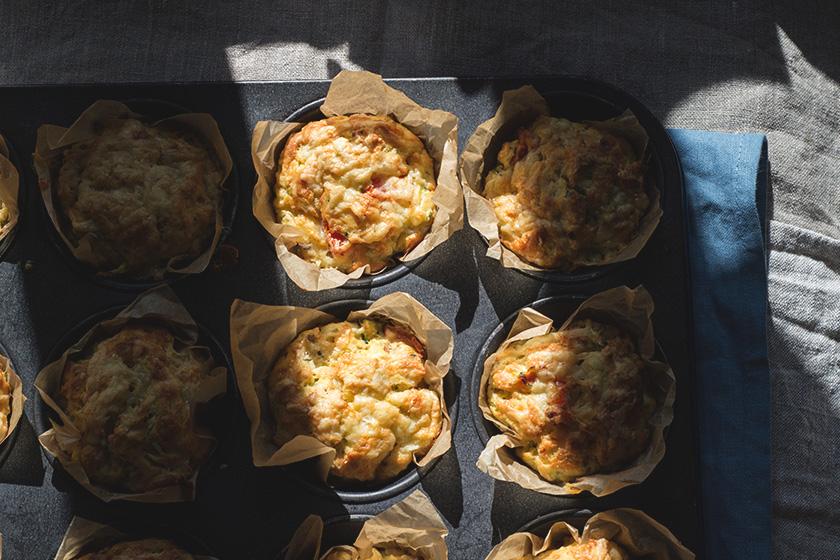 Savoury muffins in baking tin