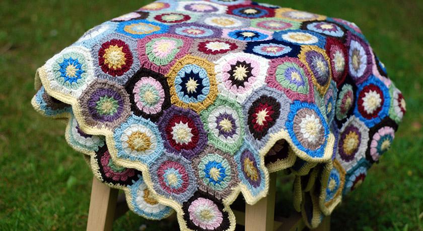 Multicoloured hexagon blanket