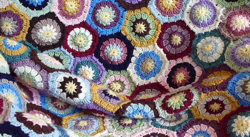 Coloured crochet hexagons