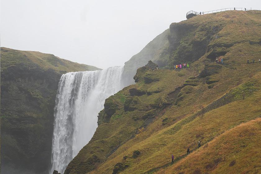 Waterfall in mossy rocks