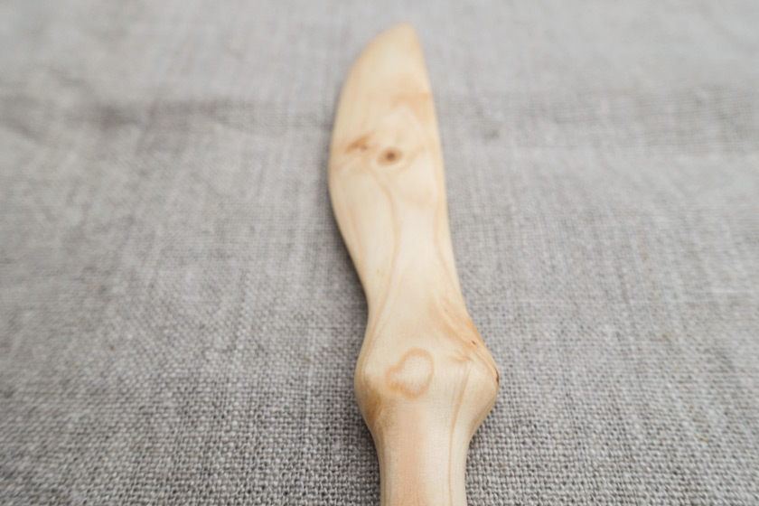 Closeup of wooden knife handle