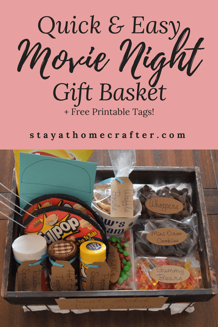 A gift basket is the perfect gift idea for nearly any occasion. This Quick & Easy DIY Ice Cream Sundae Gift Basket includes everything needed for delicious popcorn, a movie and ice cream sundaes! Includes free printable tags. Repin now for later!