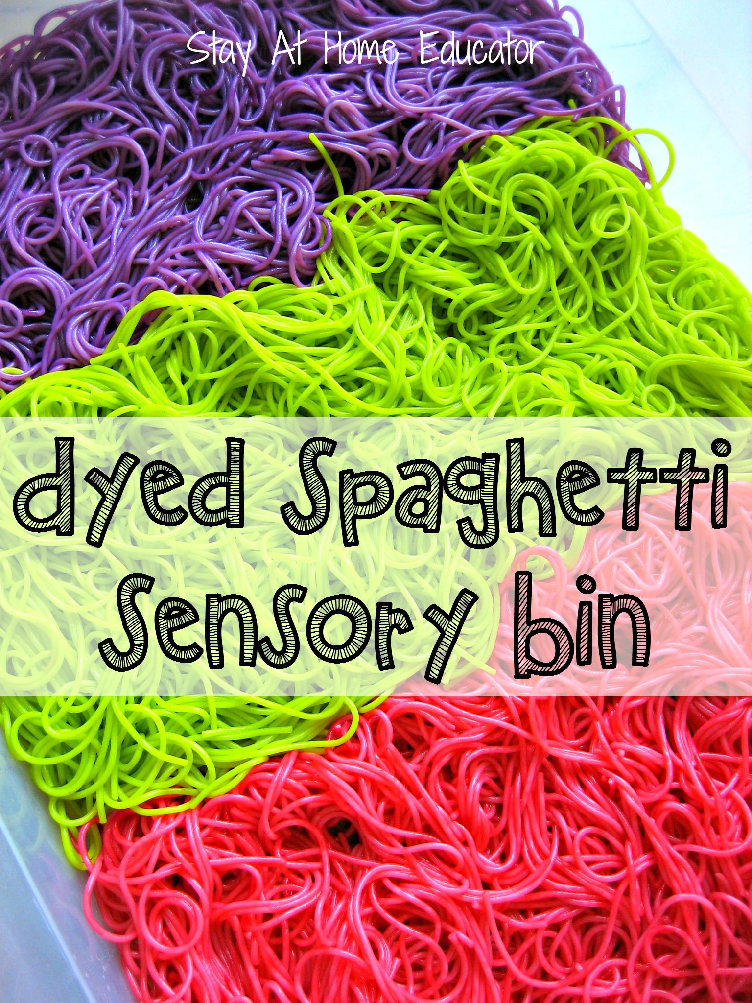 Preschool Dyed Spaghetti Sensory Bin