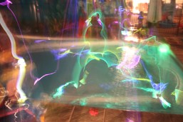 long exposure, glow sticks in the pool.